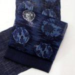 【城間栄市】 藍型名古屋帯 越後上布 「稲妻に菊に雪輪」